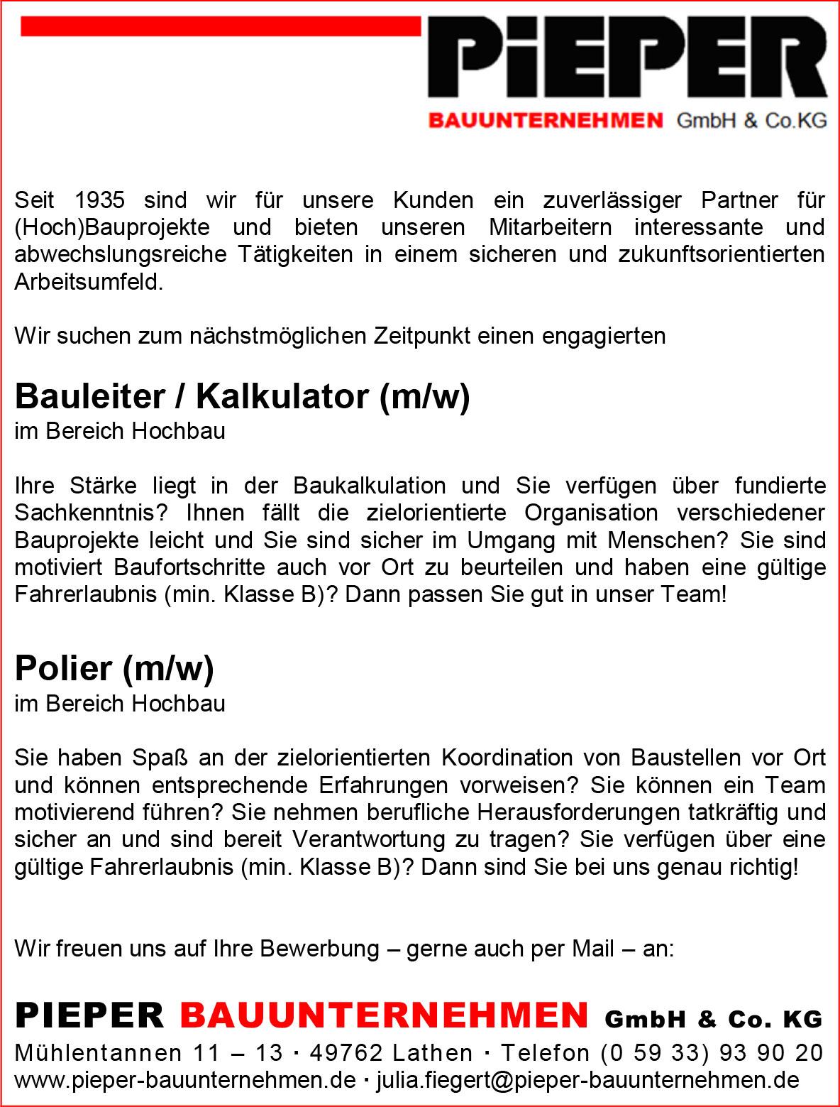 Anzeige Bauleiter Kalkulator-Polier